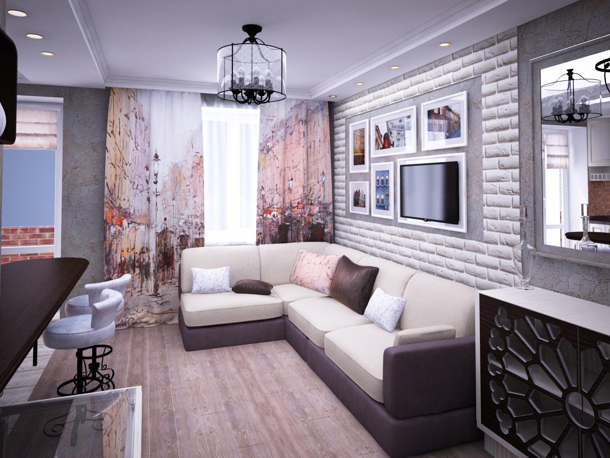 Дизайн-проект гостиной в стиле французского кафе